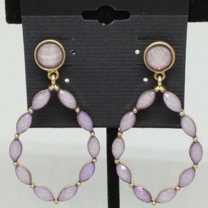 Earrings Purple Beaded Teardrop Dangle Hoop 1281